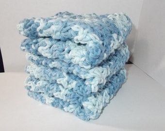 Set of 3 Crochet Dishcloths/Washcloths/Face cloths-Shaded Denim