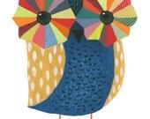 Geometric Owl - gouache owl painting, nature, watercolor painting, art print, nursery art