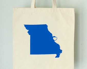 SALE MISSOURI LOVE Tote St. Louise royal blue state silhouette with heart on natural bag