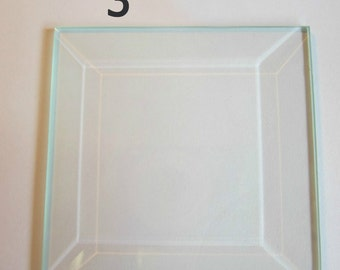 4 pack of 3 inch Squares Pendant Clear Glass BEVELS 3 x 3 BEVEL is FLAT on back side - Ornament size Memory Glass
