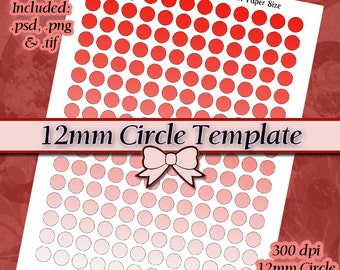 12mm Circle Template, DIY DIGITAL Collage Sheet TEMPLATE 8.5x11 inch Page with Video Tutorial Instructions (Instant Download)