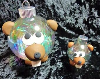 Small Beaver Ornapet Ornament