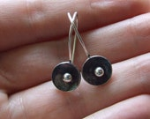 Petite POPPY Earrings on Wires or Posts - Handmade Discs in Sterling Silver with Patina - Recycled Silver Nature Woodland Artisan Jewelry