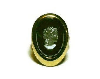 Vintage Sarah Coventry Cameo Ring - black cameo, vintage cameo adjustable ring, vintage cameo jewelry, Evening Profile 1964
