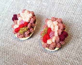 freeform crocheted stud earrings