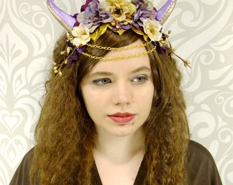 Dragon Princess Headdress, Purple and Gold Cosplay Headpiece, Flower Crown, Satyr, Faun, Maenad, Mori Kei, Lolita, Fantasy Headpiece,