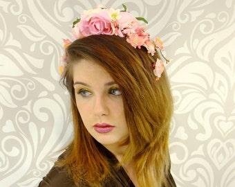 Pink Rose Bridal Crown, Pink Flower Crown, Floral Crown, Flower Headband, Rose Headband, Hippie Headband, Bohemian Fashion, Pale Pink