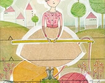 Cori Dantini, The Makers, watercolor - knitting & crocheting -  limited edition - 8 x 10 print by cori dantini