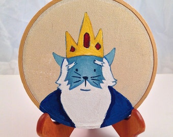 Adventure Time Ice King as Kitty Cat Original Acrylic painting on Embroidery 4inch round Hoop