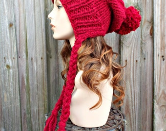 Cranberry Red Slouchy Hat Womens Hat Red Hat Red Beanie Slouchy Beanie - Charlotte Slouchy Ear Flap Hat Knit Hat Winter Womens Accessories
