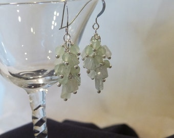 Genuine Aquamarine Cluster Earrings