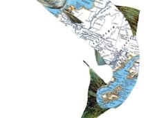 Original Collage on Paper Alaskan Salmon Fish Art for Office Alaska Map Wall Art Cabin Artwork Gift for Fisherman