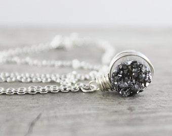 Silver Druzy Necklace, Sterling Silver Necklace, Drusy Gemstone Necklace, Simple Pendant Necklace, Circle Necklace