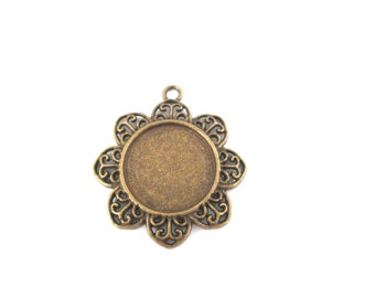 20mm brass plated flower pendant settings pick your amount B207