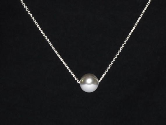 einzelne perlen collier sterling silber kette zarte stark. Black Bedroom Furniture Sets. Home Design Ideas