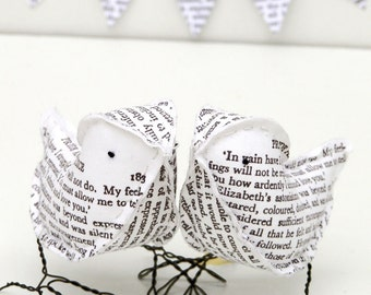 Cotton Fabric Birds Jane Austen Pride and Prejudice Wedding Cake Topper - Made To Order