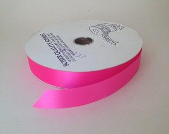 "Hot pink Satin Ribbon (single faced) 1"" wide - 3 yards"