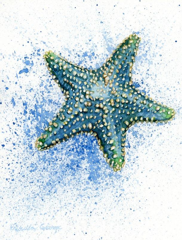 Blue Starfish Watercolor Print 5x7 8x10 11x14