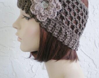 hand crochet Headband Headwrap Earwarmer ear warmer women headband hair womens accessories ~ half hat single yarn ~ taupe brown tweed
