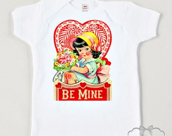 Valentine Girl Shirt - Valentine Toddler Tee - Be Mine Kids Tee - Custom Size -  Love Retro Tee - Personalized Childrens Shirt - Love Tshirt