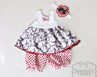 Baseball Infant Outfit - Baseball Baby Set - Red White Dress Bloomers - Custom Size 6 month to 4T - Baseball Toddler Dress - Headband Match