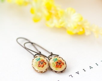 Floral Earrings, Vintage Style Red and Green Flower Earrings, Bridesmaid Jewelry, Mother's Day BFF Birthday Gift for Her under 10 dollars