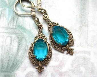 Blue Zircon Dangle Earrings - Vintage Jewels with Antiqued Brass