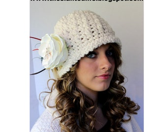 Crochet Hat Pattern - Chunky Downton Abbey Inspired Cloche Pattern  - Womens Hat - Crochet Flapper Hat Pattern with Vintage Jewlelry  No. 73