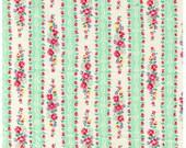 HALF YARD Yuwa - Roses and Ribbon Stripes Mint Green - Atsuko Matsuyama 30s collection - Flowers, Daisy, Bows, Lace