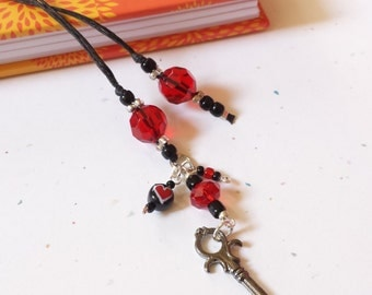 Handmade Beaded Bookmark Heart And Skeleton Key / Red And Black Glass Beaded Cotton Cord With Metal Charm/ Journal Marker/ Book Lover