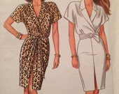 Vintage Mock Wrap Dress Pattern New Look 6414 all sizes included 8-18