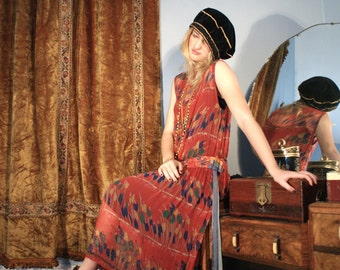 Gorgeous 1920's Chiffon Print Beaded Dress with Long Multi Colored Ribbons Gatsby