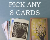 PICK ANY 8 NOTECARDS // 5 x 7 blank notecards - assorted greeting cards - illustration card - greeting card set - boxed cards - painting