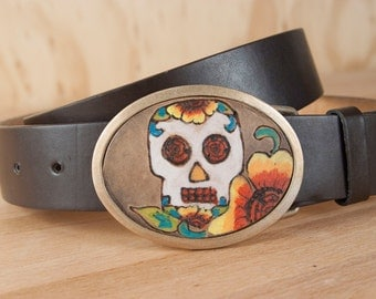 Skull Belt Buckle - Colorful Buckle in the Vesa Pattern with Sugar Skull and Flowers - Leather and Bronze