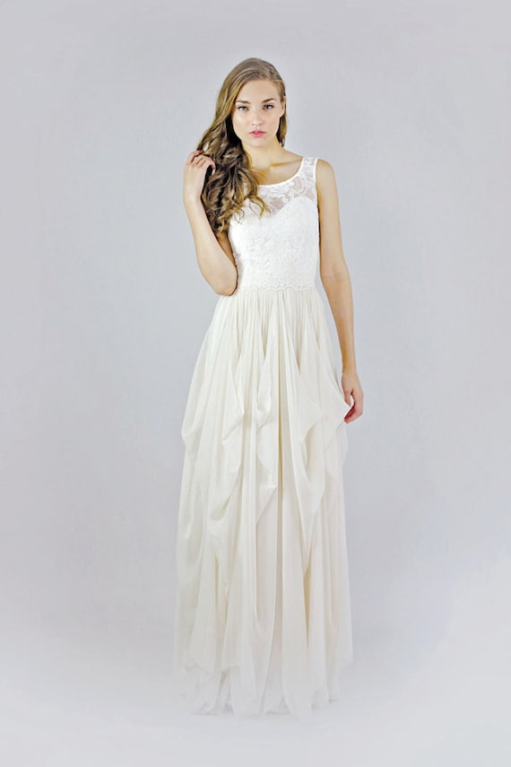 Sample Sale - Clementine lace and silk chiffon gown -