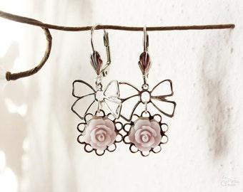 Sweet Rose Earrings, Vintage, Shabby Chic, Bohemian, Feminine Dainty Floral Jewelry