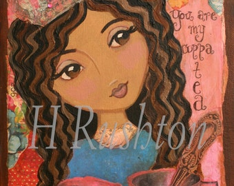 Children Decor-Princess Wall Art- Shabby Chic Decor - African American Art - Mixed Media Art Print Size  8x10