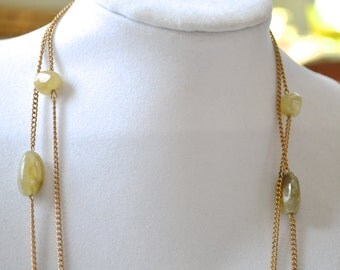 Agate Necklace, Gold tone Necklace, Flapper Necklace, Multi Strand Necklace, Chain Necklace, Vintage Necklace, Necklace, Lucite Necklace