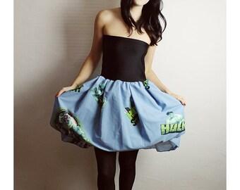 The Incredible HULK Handmade COMIC Book DRESS Baby Doll Strapless Diy Green