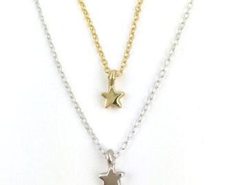 Star Necklace    gold silver pendant charm tiny 14K jewelry