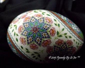 Ring Around The Rosie Pysanka Batik Ukrainian Style Easter Egg Art EBSQ Plus