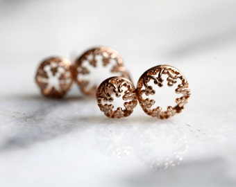 Royal crown- post silver gold plated earrings, studs.vermeil