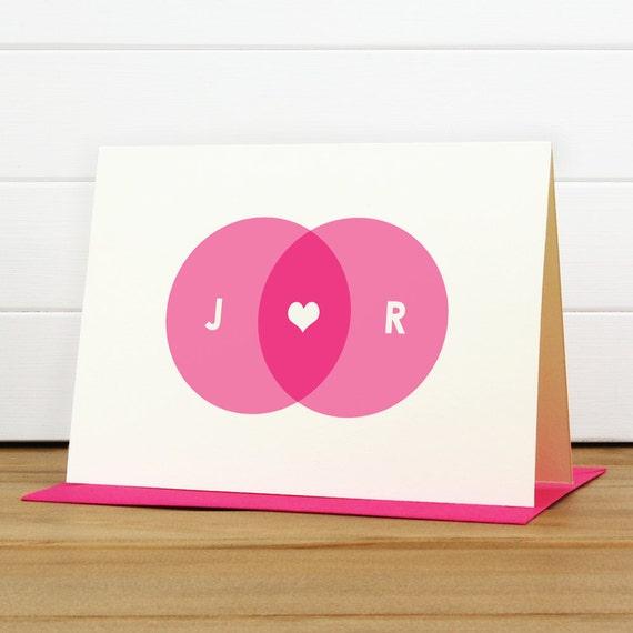 Personalized Stationery Set / Personalized Stationary Set - VENN Custom Personalized Notecard Set - Wedding Thank You Anniversary Couple