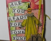 Vintage Clown Birthday Creepy Humor Card Collage Handmade Hand stamped Blank inside