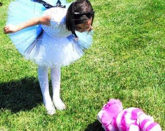Girls Costume Tutu, Blue Black and White Tutu w/ Apron Look, Custom Sewn Tutu Inspired by Alice in Wonderland, Birthday Tutu, Photo Prop