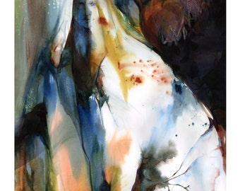 """Spiritual Goddess painting, Fall Watercolor Art, Giclee archival print from original painting """"Autumn Spirit"""" by Kathy Morton Stanion EBSQ"""