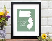 Custom Engagement Gift, Personalized Bridal Shower, Wedding Gift, Two States Map, Personalized New Couple, State to State - 8x10 Art Print