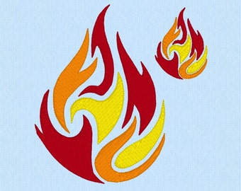 Dancing Fire Blaze Flames machine embroidery design file in two sizes