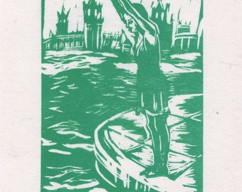 Hand Printed Linoleum Print - Take the Plunge - in Sea Green