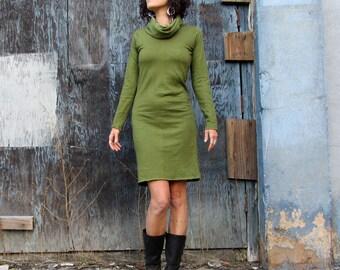Organic Chunky Cowl Pencil Short Dress (light hemp/organic cotton knit) - organic dress